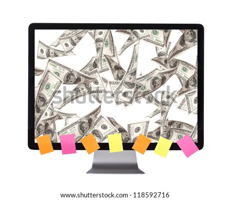 lot of money on a  pc screen with  with color stickers isolated on a white background