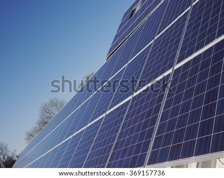 lot of solar panels electricity  - stock photo