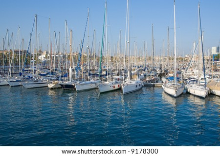 lot of yachts at Barcelona port - stock photo