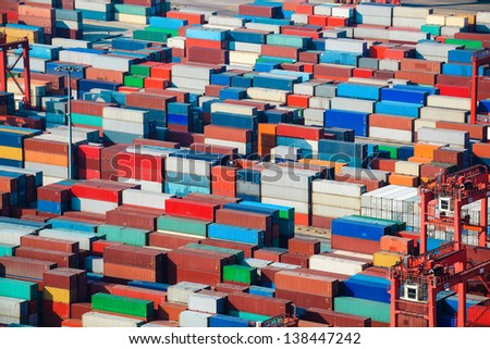 lot's of cargo freight containers in shanghai sea port - stock photo