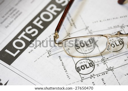 Lot sold concept - many uses for property developer. - stock photo