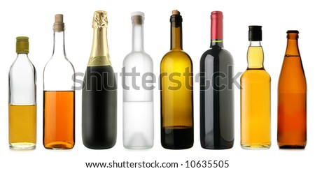 Lots bottles of various alcoholic drinks isolated over white background