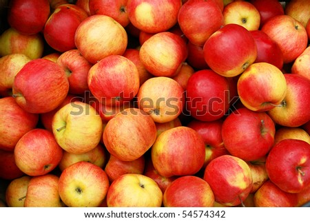 Lots of apples for sale on the market - stock photo