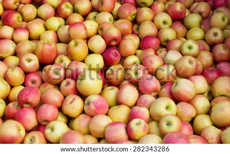Lots of apples in bulk in the market