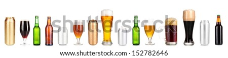 Lots of beer in different containers isolated on white - stock photo
