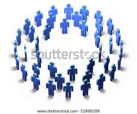 Lots of blue 3D men standing in a circle, isolated