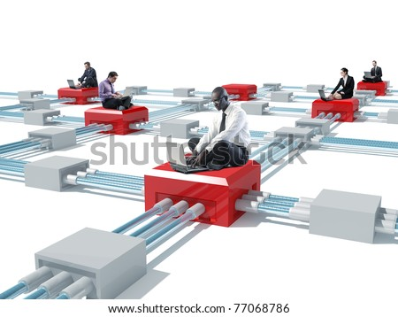 lots of businesspeople wit laptop and 3d virtual connection - stock photo