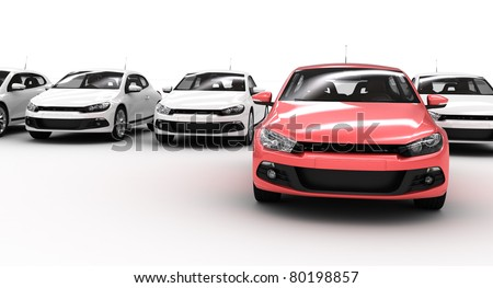 lots of car on white - stock photo