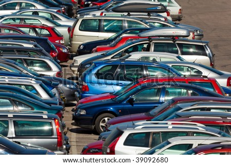 Lots of cars parking in the city - stock photo