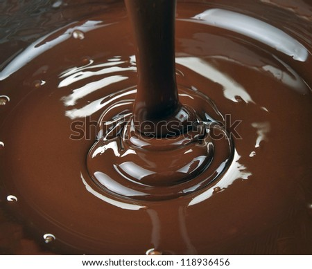 lots of chocolate falling from above - stock photo