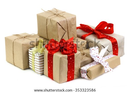 Lots of Christmas gifts boxes