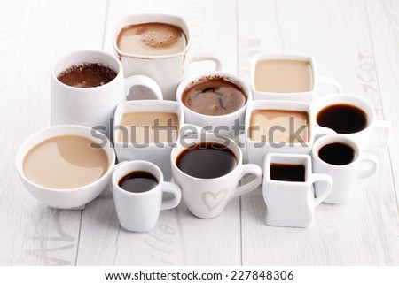 lots of coffee cups - coffee time - stock photo