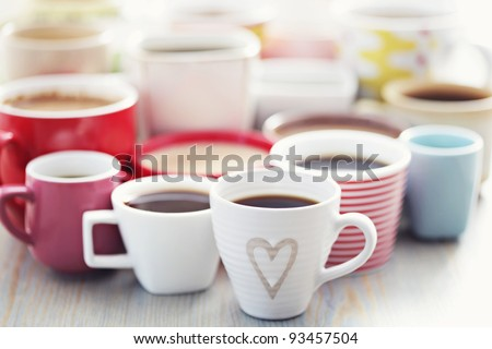 lots of coffee in different cups - coffee time - stock photo