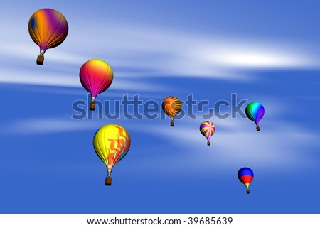 lots of colorful flying balloons in the sky - stock photo