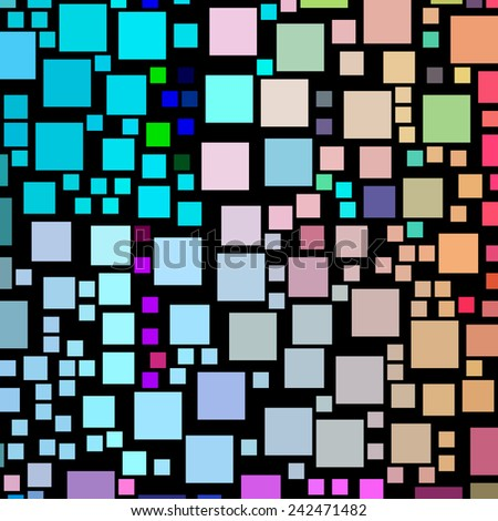 Lots of colorful square shapes on a black background. - stock photo