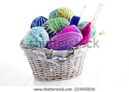 lots of colorful wool - needlecraft - stock photo