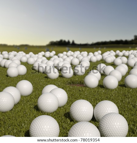 Lots of golfballs on golfcourt