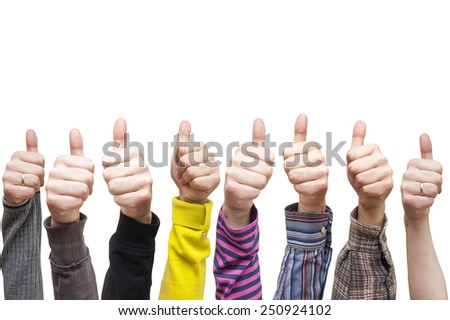 lots of hands showing sign of okay - stock photo