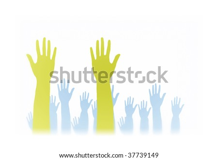 Lots of hands up, at a party. Isolated