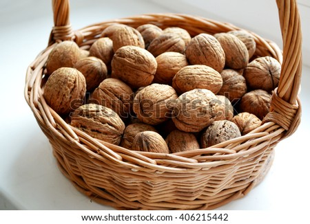 Lots of healthy walnuts in shells