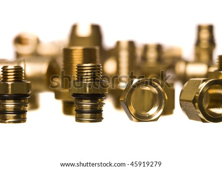 Lots of Heating and sanitation screws - stock photo