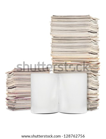 Lots of magazines and exercise book on white background