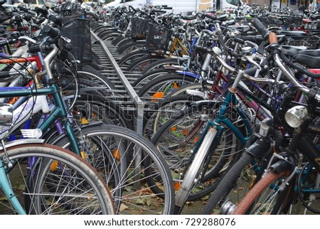 Lots Of Parked Bicycles, Many Bikes On Street, City - Heidelberg, Germany - August 8 2017