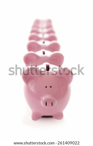Lots of Piggy Banks on White Background