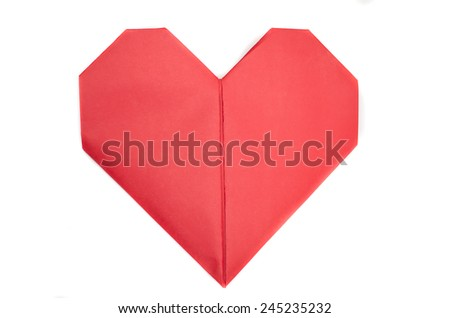 Lots of red paper origami hearts showing love for Valentine's Day - stock photo