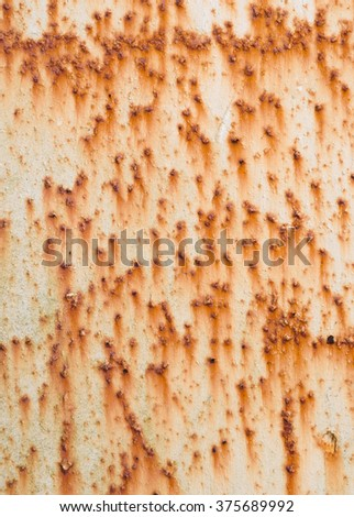 Lots of rust spots on white painted metal surface. - stock photo