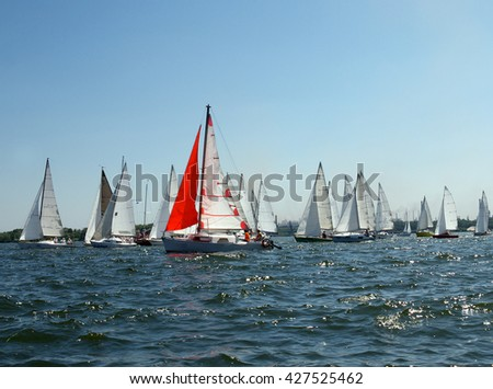 lots of sailboats on a blue surface of water and one red sail - stock photo