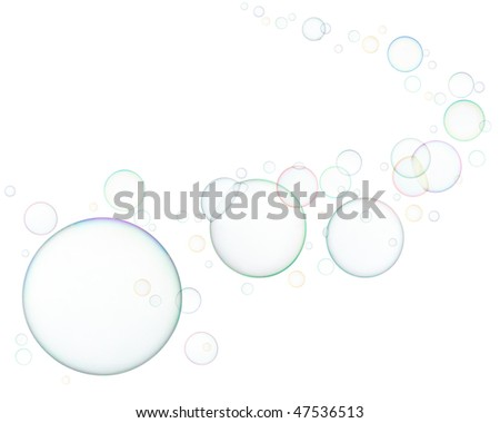 lots of soap bubbles isolated on white background - stock photo