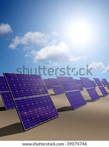 Lots of solar energy panels in a desert - stock photo