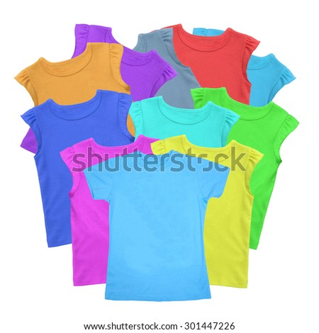 Lots of T-shirts colorful isolated on white - stock photo