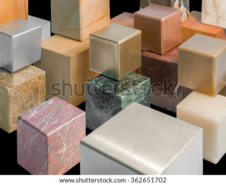 lots of various cubes made of different materials in black back - stock photo