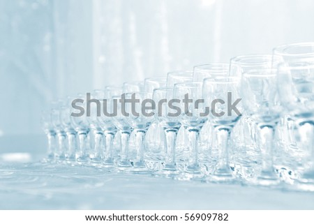 Lots of wine glasses - stock photo