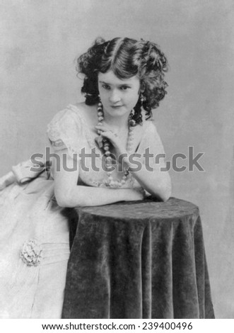 Lotta Crabtree, (1847-1924) American Actress, began her acting career as a child in the goldfields of California. 1868 portrait by J. Gurney. - stock photo