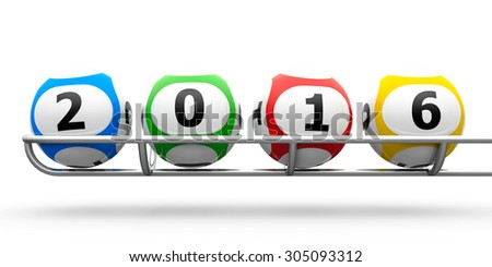 Lottery balls on a metal basis represents the new 2016, three-dimensional rendering - stock photo