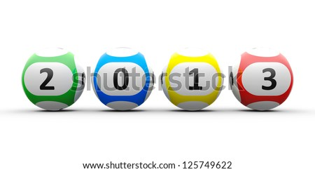 Lottery balls on a white table represents the new 2013 - stock photo