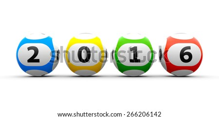 Lottery balls on a white table represents the new 2016, three-dimensional rendering - stock photo