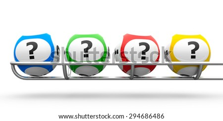 Lottery balls with questions on a metal basis, three-dimensional rendering - stock photo