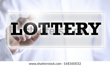 Lottery button on virtual screen. - stock photo