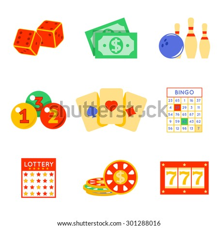 Lottery flat icon set. Risk and card, luck and game - stock photo