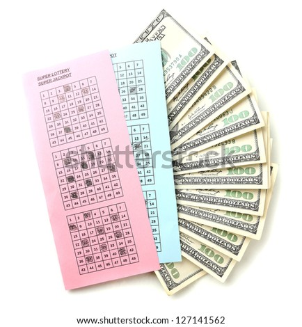 Lottery tickets and money, isolated on white - stock photo