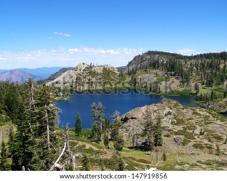 "Lotts Lake, one of the ""High Lakes"" in Plumas County, California."