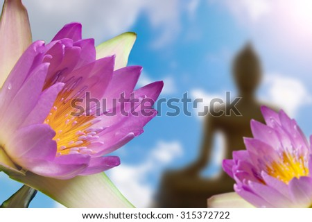 Lotus and Buddha and the background  for Activities of Buddhism. - stock photo