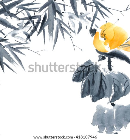 Lotus bud and bamboo. Watercolor and ink painting in style gohua, sumi-e, u-sin. Oriental traditional painting. - stock photo