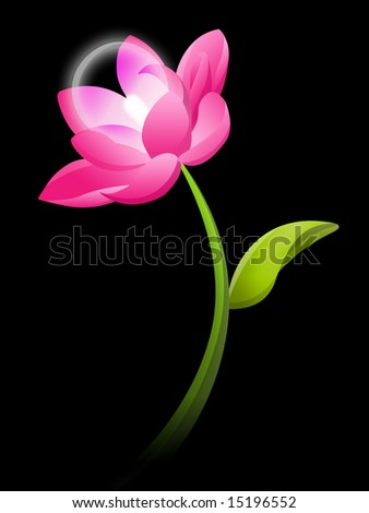 Lotus electric flower on dark ambient - stock photo