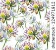 lotus flower pattern - stock vector
