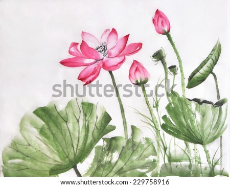 Lotus flower watercolor painting on rice paper, original art, Asian style - stock photo